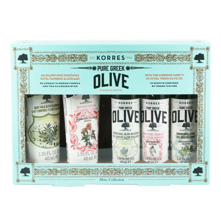 Korres Set Olive Blossom Body Milk 40ml + Verbena Body Milk 40ml + Olive Blossom Shower Gel 40ml + Verbena Shower Gel 40ml + Cedar Shower Gel 40ml