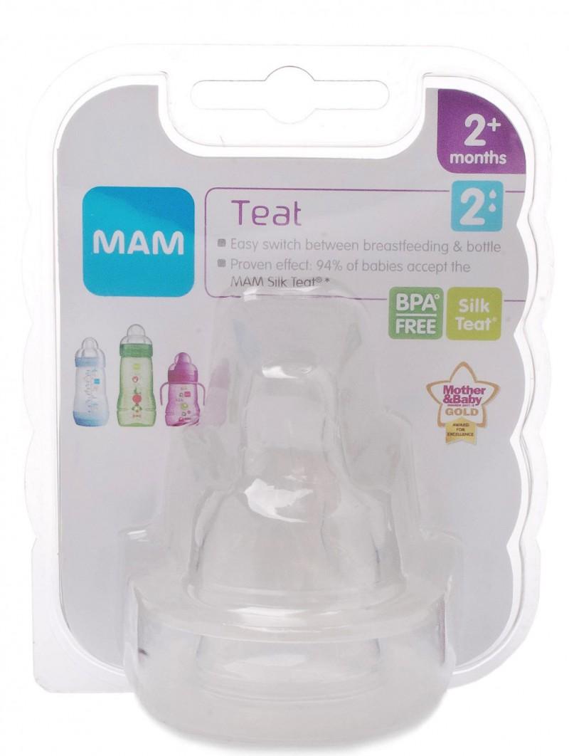 MAM Bottle Silicone Teat 2+ months - 2pcs