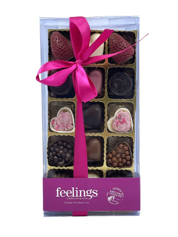 Feelings Chocolate & Wine Artisan Chocolate - Box of 15 Pralines