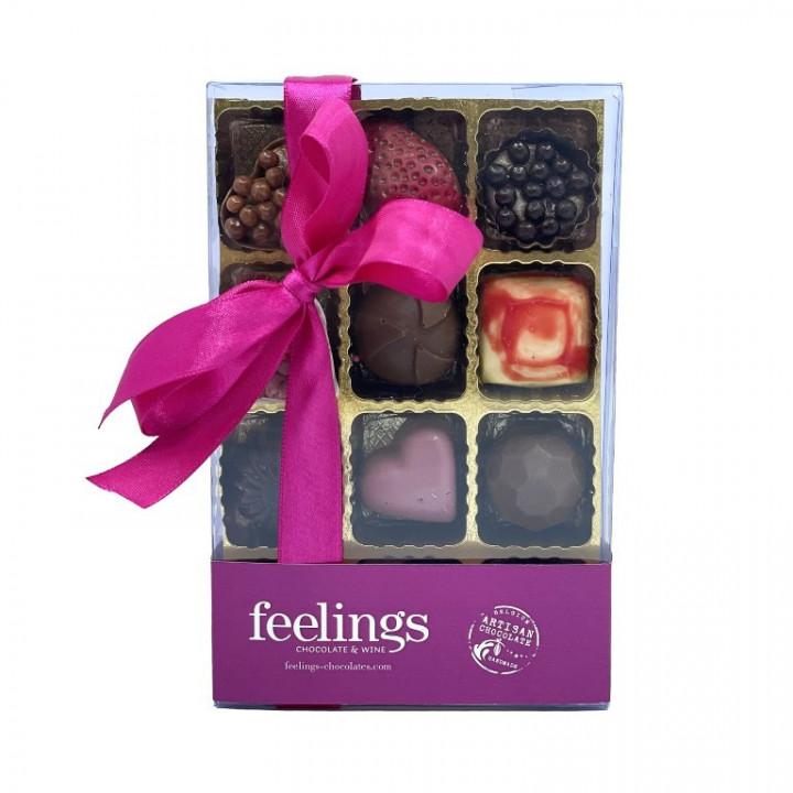 Feelings Chocolate & Wine Artisan Chocolate - Box of 12 Pralines