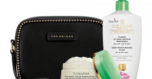 COLLISTAR DEEP MOISTURIZING FLUID WITH ITALIAN PEONY 400ML+ENERGIZING TALASSO SCRUB+BRIDGE BLACK POUCH
