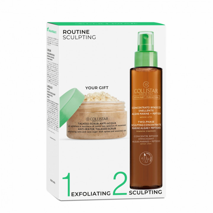 COLLISTAR PURE ACTIVES TWO-PHASE SCULPTING CONCENTRATE 200ML + ANTI-WATER TALASSO SCRUB 150g