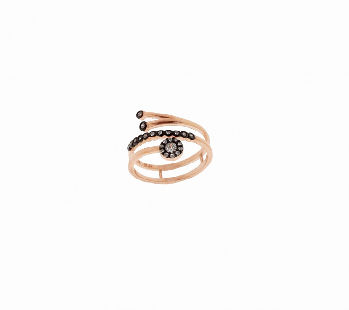 Silver Pinkplated Ring - Size 19