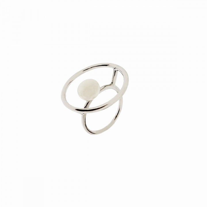 Silver White Goldplated Ring - Size 16