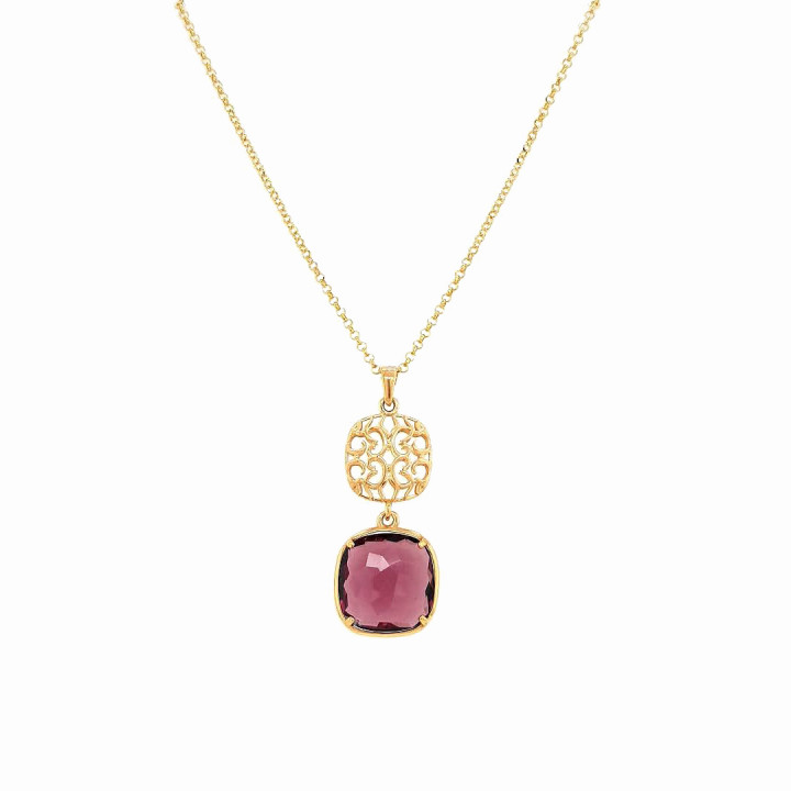 Silver Pink Goldplated Necklace
