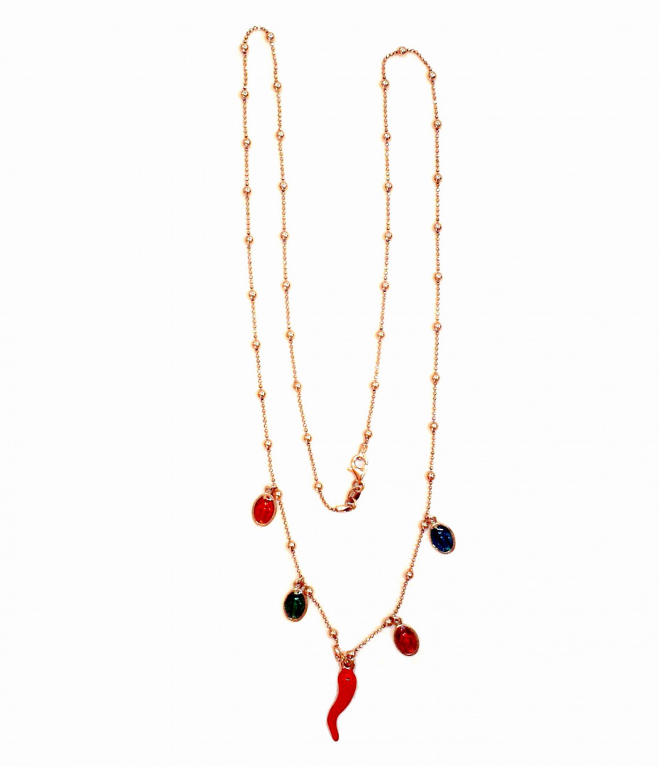 Silver Lond Pinkplated Necklace