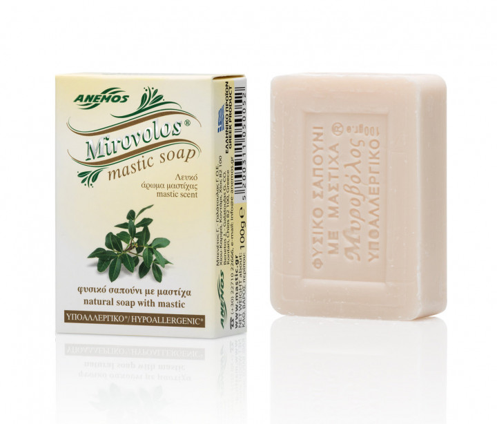 Green Mirovolos olive oil soap with mastic 100gr