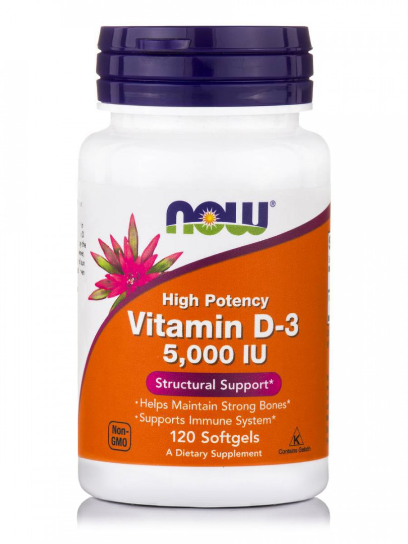 NOW VITAMIN D-3 5,000IU STRUCTURAL SUPPORT 120 SOFTGELS