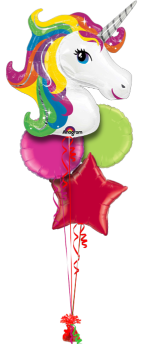 Unicorn Balloons Bouquet 4 Foil Balloons