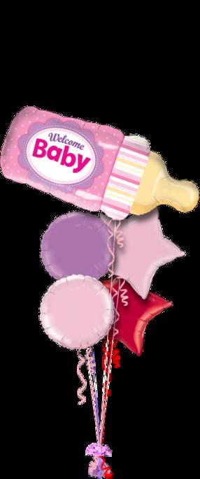 Baby Girl Balloons Bouquet 5 foil