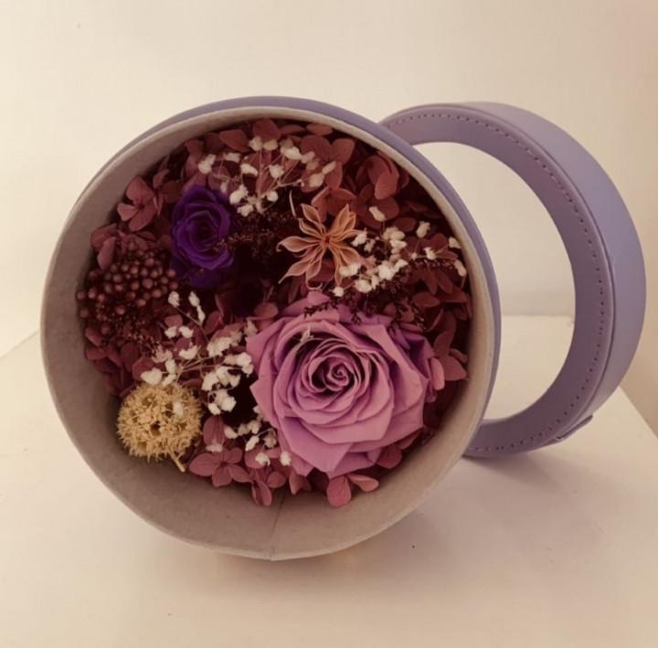 Purple love flower box - 13cm