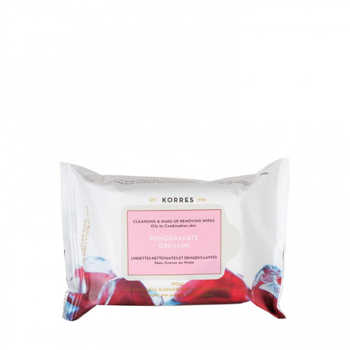 Korres POMEGRNATE CLEANSING WIPES for Oily to Combination Skin - 25 Pieces