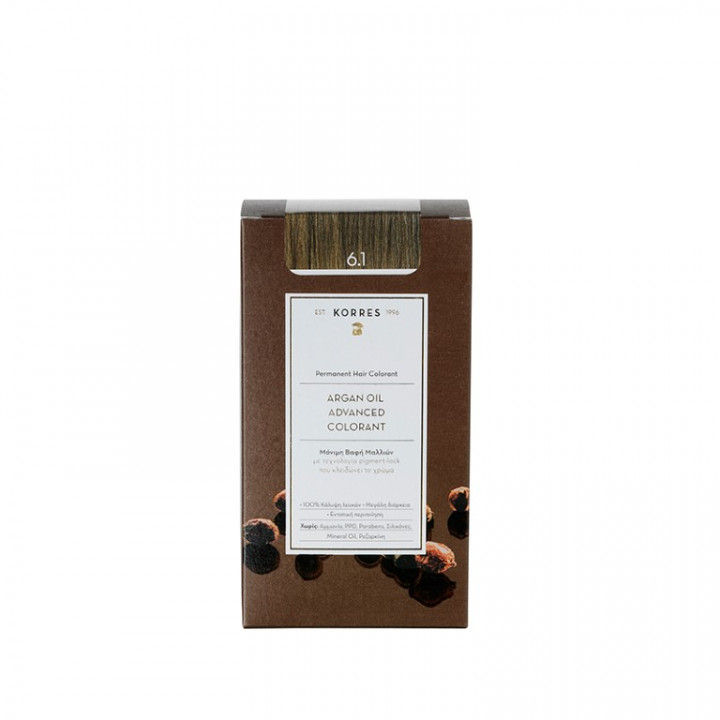 Korres Argan Oil Advanced Colorant ASH DARK Blonde / Sandre 6.1 - 50ml