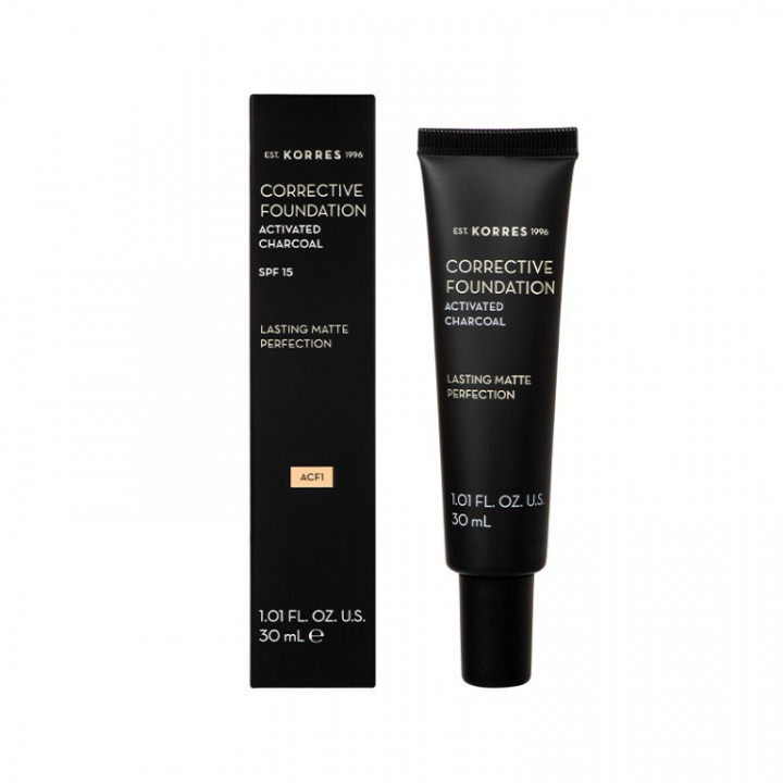 Korres ACTIVATED CHARCOAL Corrective Foundation Shade 01 - 30ML