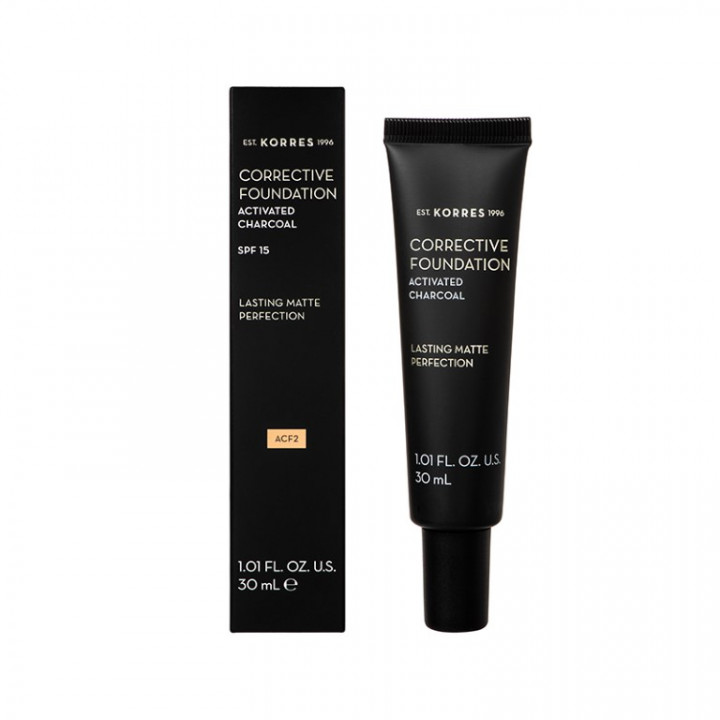 Korres ACTIVATED CHARCOAL Corrective Foundation Shade 02 - 30ML