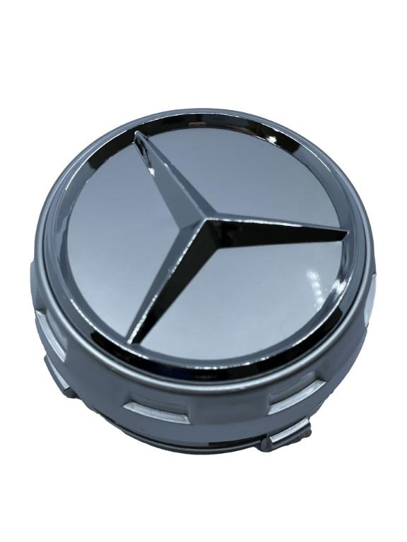 Mercedes Wheel Center Caps set of 4 - modern silver Small