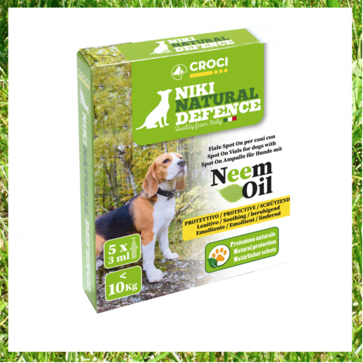 NIKI NATURAL DEFENCE SPOT ON VIALS WITH NEEM OIL - FOR DOGS MORE THAN 10KG - 5x5ml