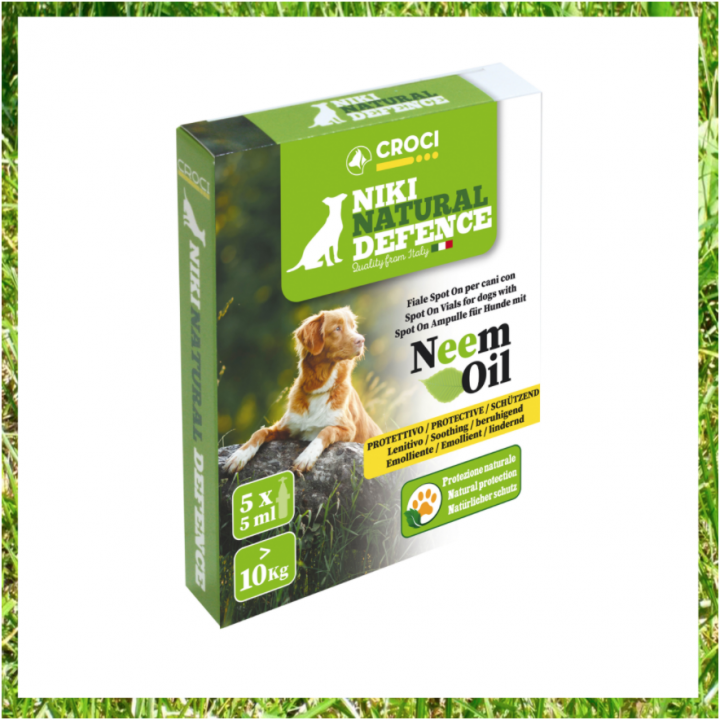 NIKI NATURAL DEFENCE SPOT ON VIALS WITH NEEM OIL - FOR DOGS LESS THAN 10KG - 5x3ml