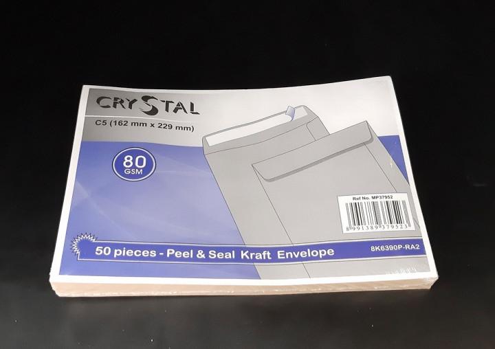 CRYSTAL 162X229 Peel & Seal Kraft Envelope 50pcs