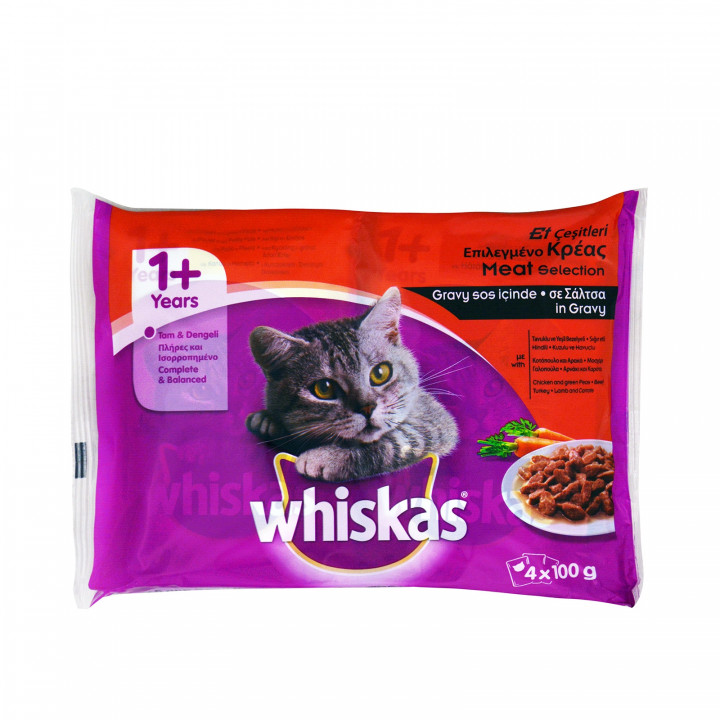 WHISKAS POUCH MEAT 4X100