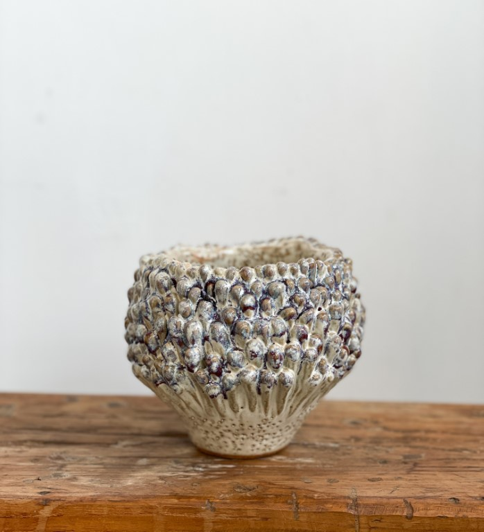 Luffa Vase small - blue / white