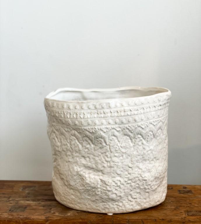 Pot oval, lacemotif - white big