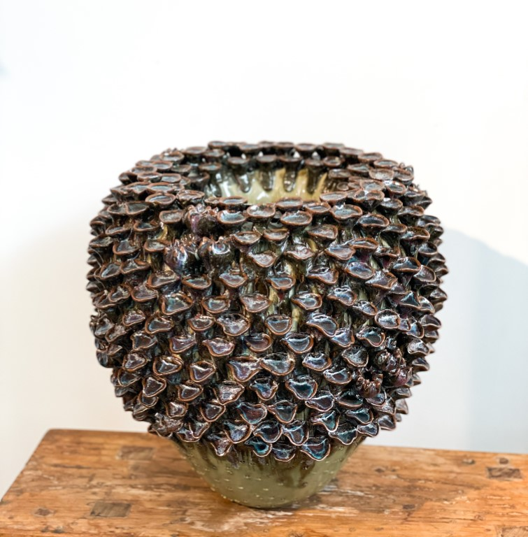 Vase with fungus - green