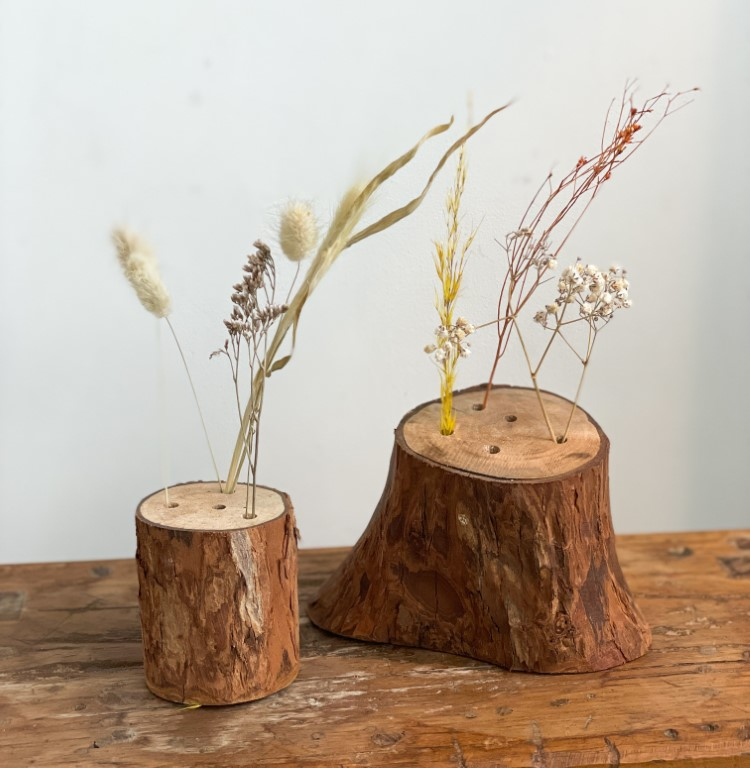 Log with dried flowers