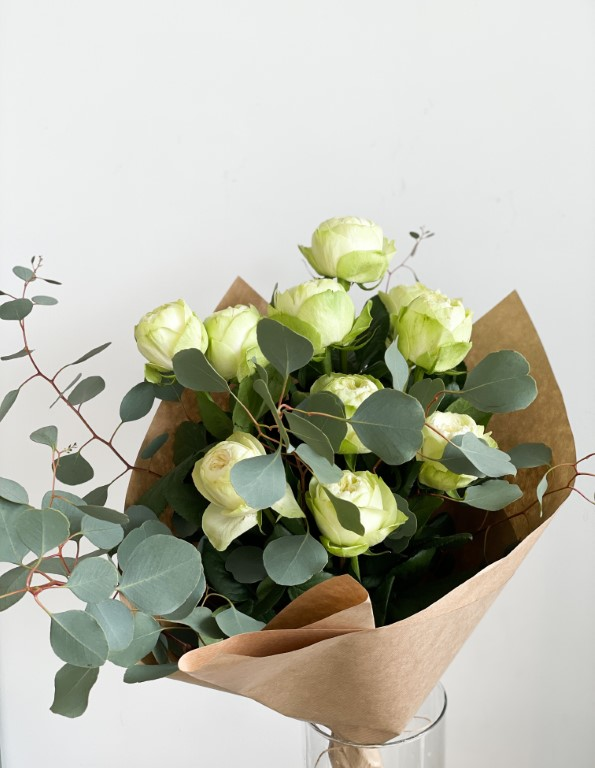 White roses with eucalyptus