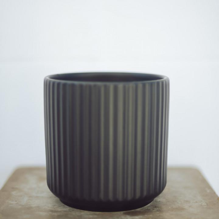 Ceramic pot black 14x14 cm