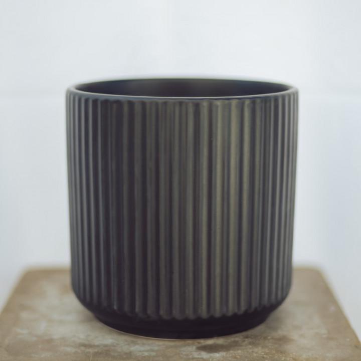 Ceramic pot black 25x25cm