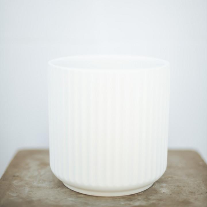 Ceramic pot white 14x14 cm