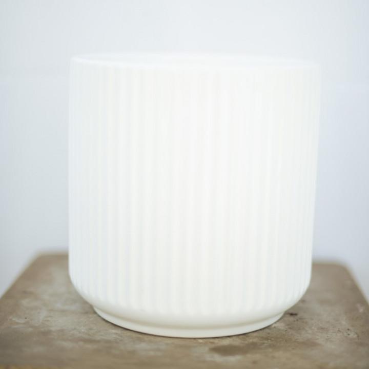 Ceramic pot white 25x25cm