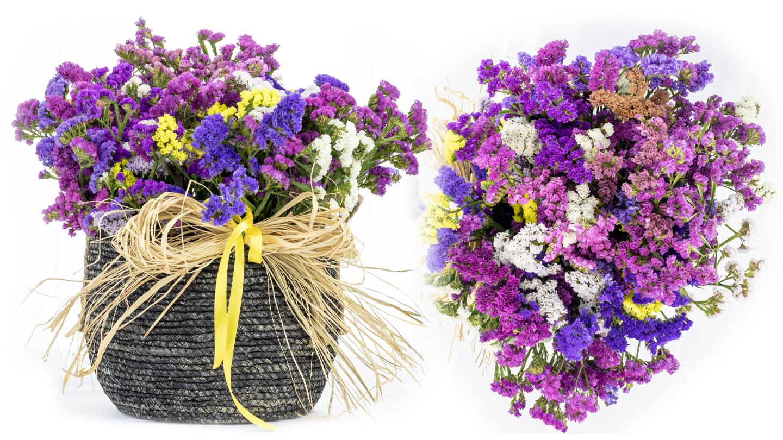 Statice flowers in big black basket