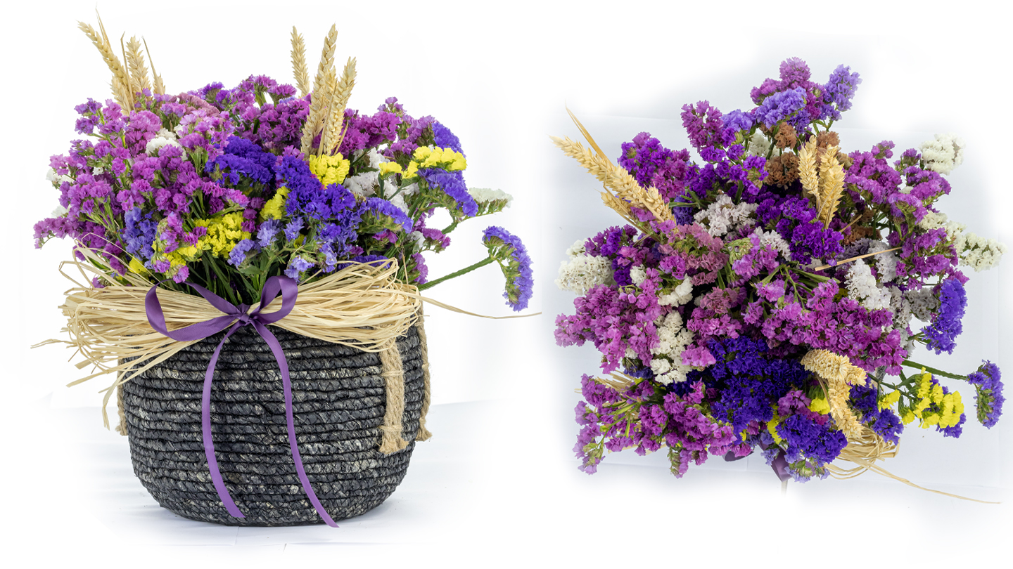 Statice flowers in small black basket