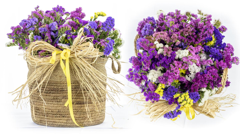 Statice flowers in basket