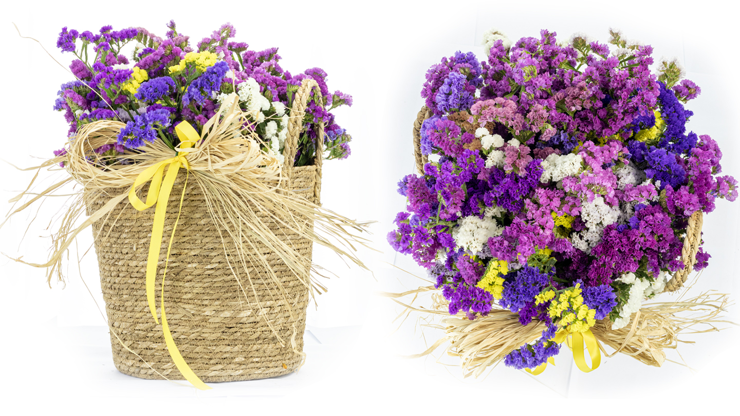 Statice flowers in natural basket