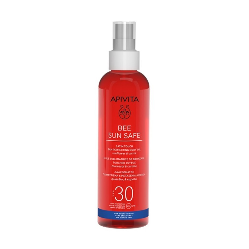 Apivita Satin Touch Tan Perfecting Body Oil SPF30- Bee Sun Safe 200ml