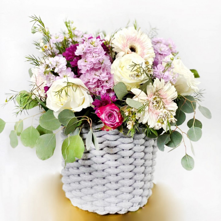 Mother's day large flower arrangement in wooly basket