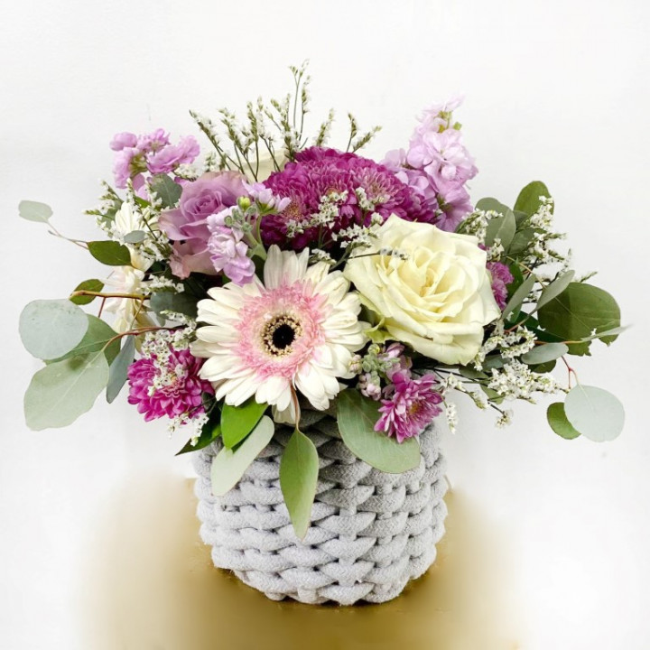Mother's day small flower arrangement in wooly basket