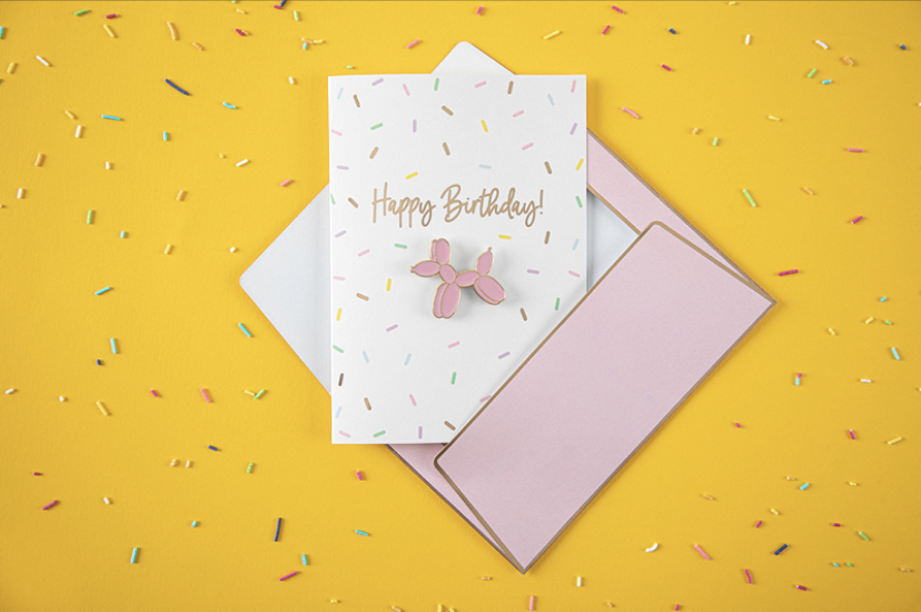 Card with enamel pin Happy Birthday