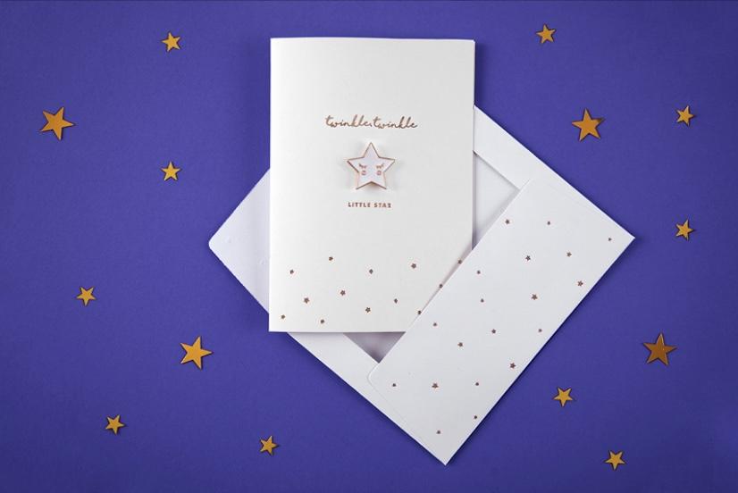 Twinkle twinkle little star Card with enamel pin star