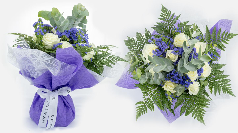 blue water bouquet