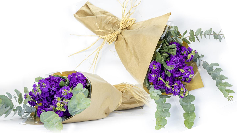purple sherinies hand-tied bouquet