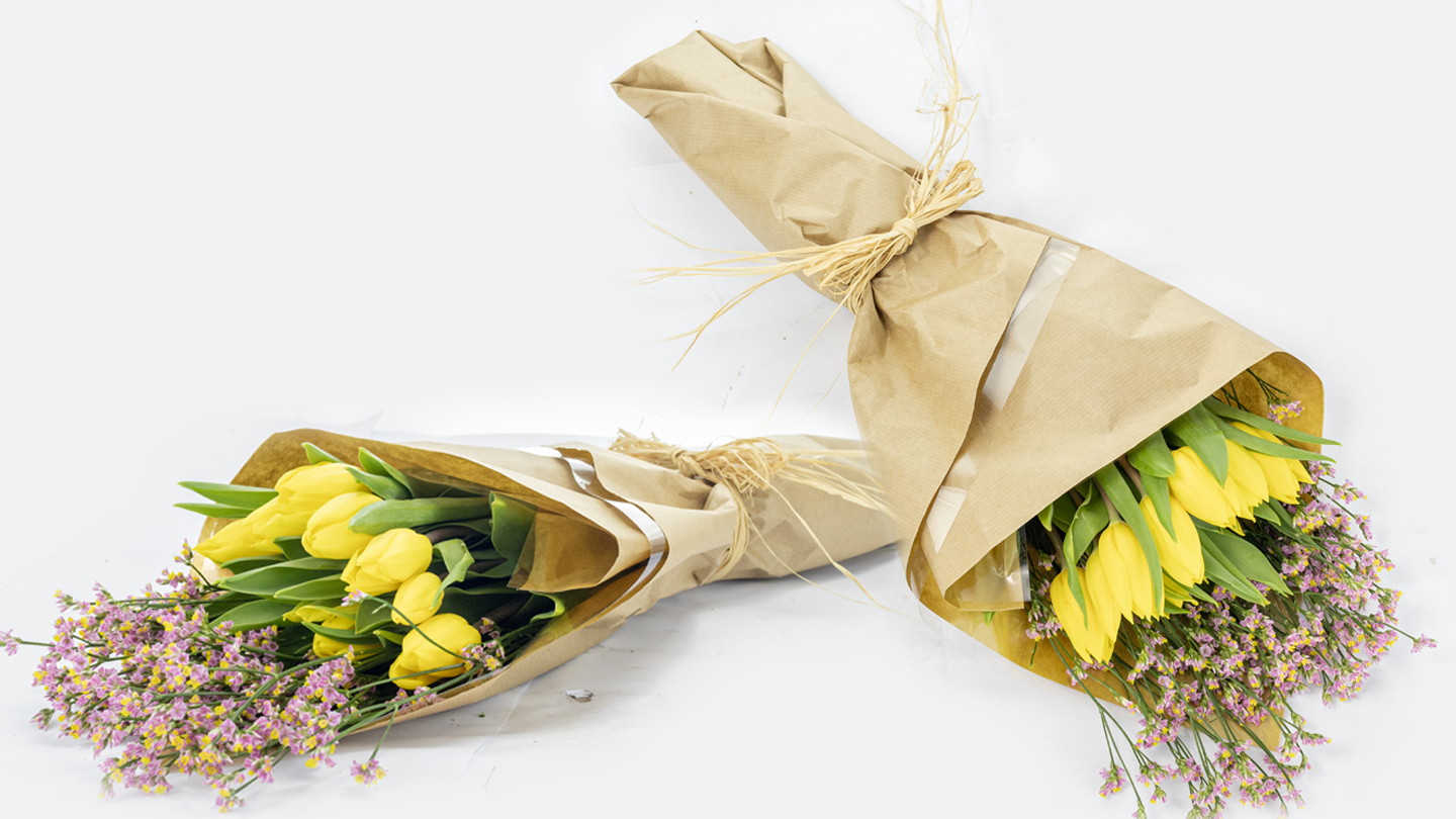 yellow tulips hand-tied bouquet