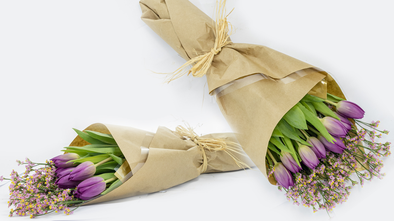 purple tulips hand-tied bouquet