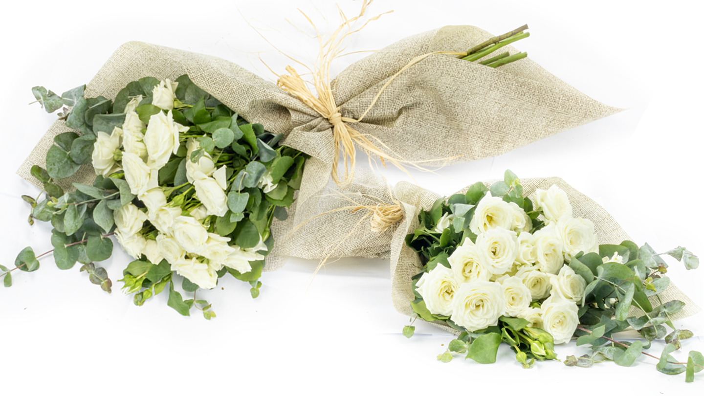 white mini rose hand-tied bouquet