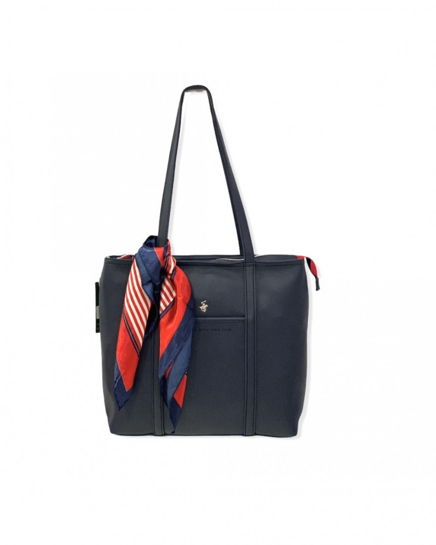 Women's shoulder bag BEVERLY HILLS POLO CLUB with decorative scarf - blue
