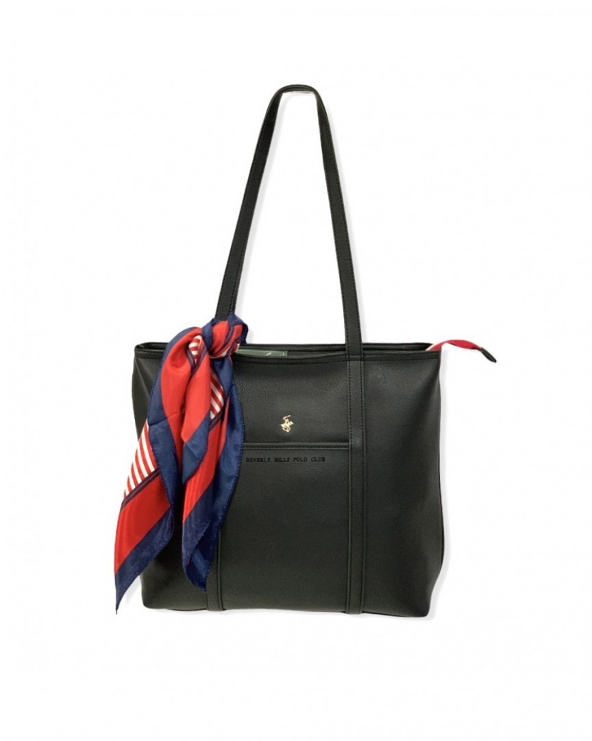 Women's shoulder bag BEVERLY HILLS POLO CLUB with decorative scarf - black