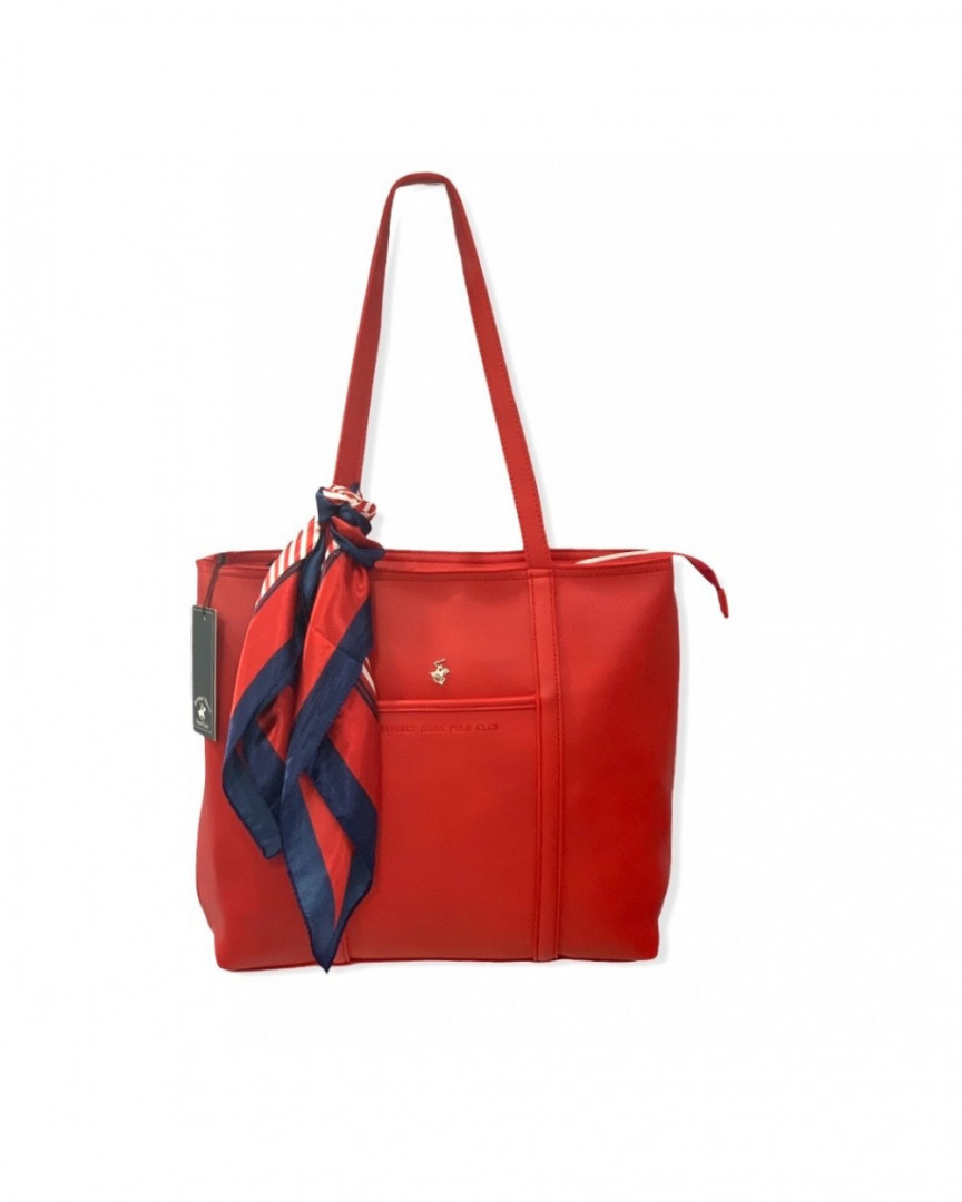 Women's shoulder bag BEVERLY HILLS POLO CLUB with decorative scarf - red